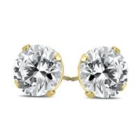 AGS Certified (J-K Color, SI1-SI2 Clarity) 1/2 Carat TW Round Diamond Solitaire Stud Earrings In 14k Yellow Gold