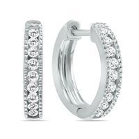 1/4 Carat TW Small Diamond Channel Set Huggie Hoop Earrings in 10K White Gold