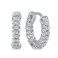 1/3 Carat TW Small Diamond Huggie Hoop Earrings in 10K White Gold