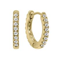 1/10 Carat TW Small Diamond Huggie Hoop Earrings in 10K Yellow Gold
