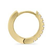 1/5 Carat TW Small Diamond Huggie Hoop Earrings in 10K Yellow Gold