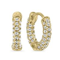 1/3 Carat TW Small Diamond Huggie Hoop Earrings in 10K Yellow Gold