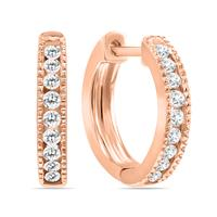 1/4 Carat TW Small Diamond Channel Set Huggie Hoop Earrings in 10K Rose Gold