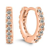1/4 Carat TW Double Sided Small Diamond Hoop Huggie Earrings in 10K Rose Gold