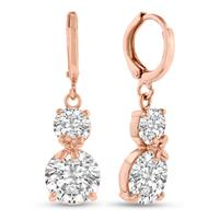 Szul Elegant Swarovski Crystal Hoop Drop Earrings