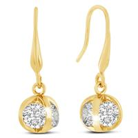 Swarovski Elements Crystal Basket Dangle Earrings, Yellow Gold Overlay, 1 Inch