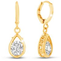 Swarovski Elements Crystal Pear Shape Drop Earrings In Yellow Gold Overlay, 3/4 Inch
