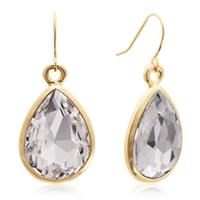 Pear Shape Crystal Earrings with Gold Overlay