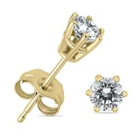 1/4 Carat TW 6 Prong Round Diamond Solitaire Stud Earrings In 14k Yellow Gold