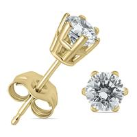 1/2 Carat TW 6 Prong Round Diamond Solitaire Stud Earrings In 14k Yellow Gold