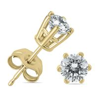 3/4 Carat TW 6 Prong Round Diamond Solitaire Stud Earrings In 14k Yellow Gold