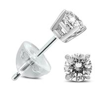 .25CTW Round Diamond Solitaire Stud Earrings In 14k White Gold with Silicon Backs