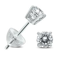 .35CTW Round Diamond Solitaire Stud Earrings In 14k White Gold with Silicon Backs