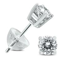 .50CTW Round Diamond Solitaire Stud Earrings In 14k White Gold with Silicon Backs