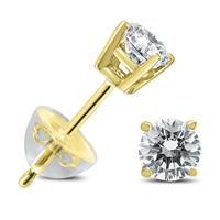 .25CTW Round Diamond Solitaire Stud Earrings In 14k Yellow Gold with Silicon Backs