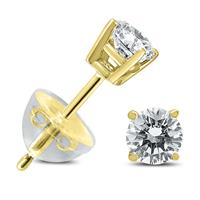 .35CTW Round Diamond Solitaire Stud Earrings In 14k Yellow Gold with Silicon Backs