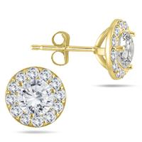 1 Carat TW Diamond Halo Earrings in 14K Yellow Gold