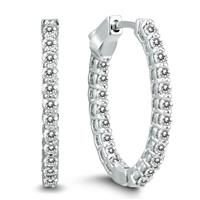 AGS Certified 1 Carat TW Oval Diamond Hoop Earrings with Push Button Locks in 14K White Gold