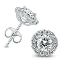 AGS Certified 2 Carat TW Diamond Halo Earrings in 14K White Gold