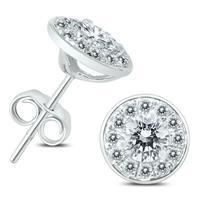 3/4 Carat TW Diamond Halo Earrings in 14K White Gold