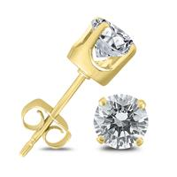 1 Carat TW Diamond Solitaire Stud Earrings in 14K Yellow Gold (I-J COLOR, SI2-SI3 CLARITY)