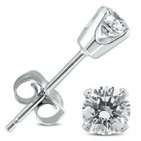 3/8 Carat TW Round Diamond Solitaire Stud Earrings In 14k White Gold (I-J COLOR, SI2-SI3 CLARITY)