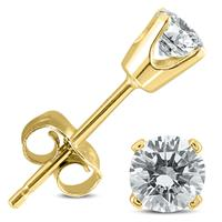 3/8 Carat TW Round Diamond Solitaire Stud Earrings In 14k Yellow Gold (I-J COLOR, SI2-SI3 CLARITY)