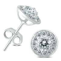 14K White Gold 1 Carat TW Diamond Halo Earrings