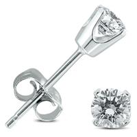 1/2 Carat TW Round Diamond Stud Earrings in 14K White Gold Setting