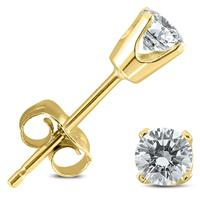 1/2 Carat TW Round Diamond Studs 14K Yellow Gold