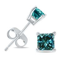 1/2 Carat Princess Cut Blue Diamond Solitaire Earrings in 10K White Gold