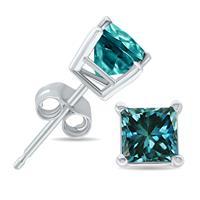 1 Carat Princess Cut Blue Diamond Solitaire Earrings in 10K White Gold