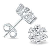 1 Carat TW Diamond Flower Cluster Stud Earrings in 14K White Gold