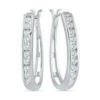 AGS Certified 1 Carat TW Diamond Hoop Earrings in 10K White Gold (K-L Color, I2-I3 Clarity)