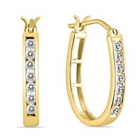 AGS Certified 1/2 Carat TW Diamond Hoop Earrings in 10k Yellow Gold