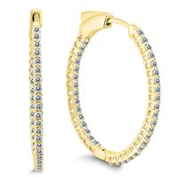 1 Carat TW Round Diamond Hoop Earrings with Push Down Button Locks in 10K Yellow Gold