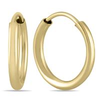 10MM Hoop Earrings in 14k Yellow Gold