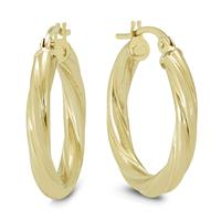 20MM Rope Hoop Earrings in 10K Yellow Gold