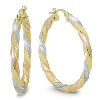 30MM Round Hoop Earrings in 10K Multi-Tone Gold