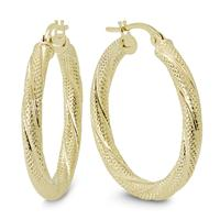 25MM Round Luster Hoop Earrings in 10K Yellow Gold