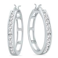 1 Carat TW Diamond Hoop Earrings in 10k White Gold AGS Certified (K-L Color, I2-I3 Clarity)