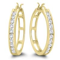 1 Carat TW Diamond Hoop Earrings in 10k Yellow Gold AGS Certified (K-L Color, I2-I3 Clarity)