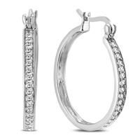 1/4 Carat TW Diamond Hoop Earring in .925 Sterling Silver