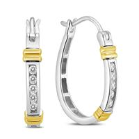 1/7 Carat TW Diamond Hoop Earrings in 10k Two Tone Gold