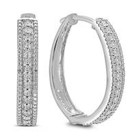 Deals on 1/10 Carat Tw Diamond Pave Hoop Earrings