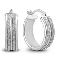 Double Row Round Sparkle Dust Hoop Earrings .925 Sterling Silver
