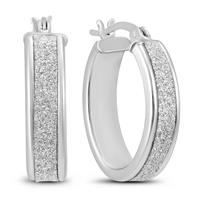 Sparkle Dust Hoop Earring in .925 Sterling Silver