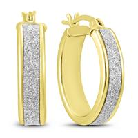 Deals on Sparkle Dust Hoop Earrings In Gold Plated .925 Sterling Silver