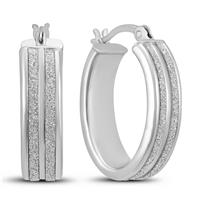 Double Row Sparkle Dust Hoop Earrings in .925 Sterling Silver