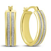 Double Row Sparkle Dust Hoop Earrings in Gold Plated .925 Sterling Silver